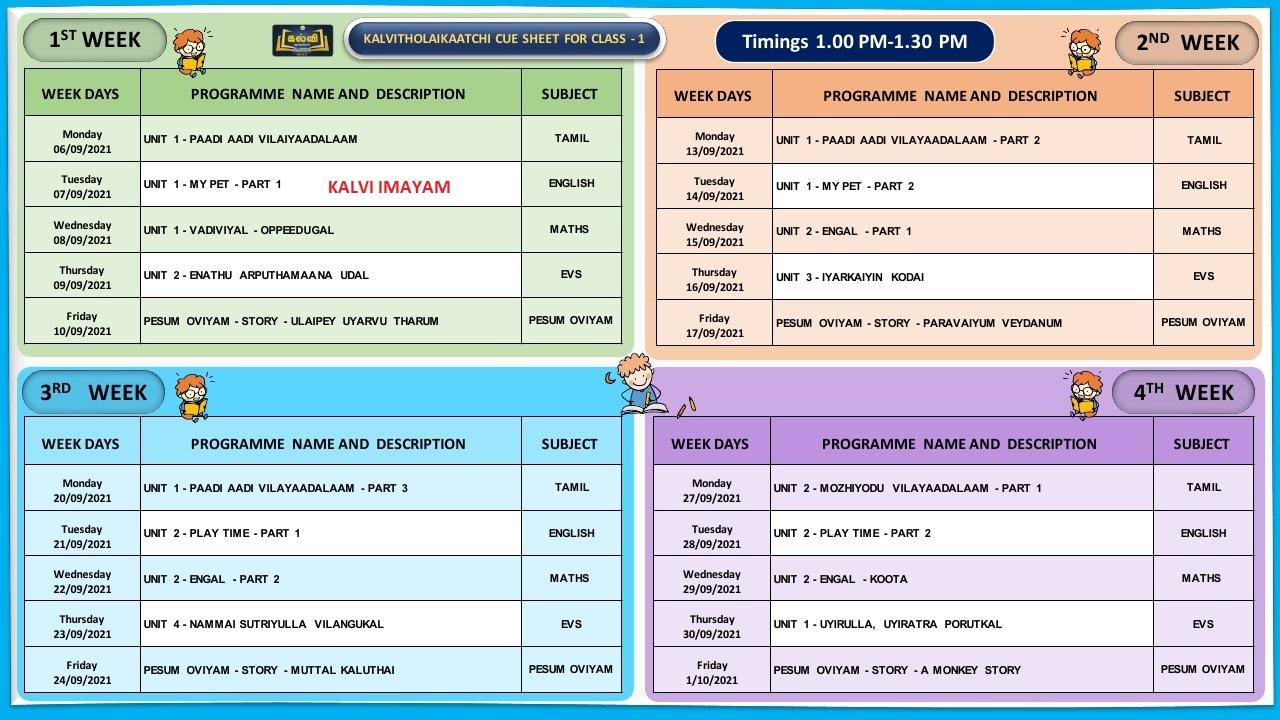 1st Standard September Month Kalvi TV Time Table
