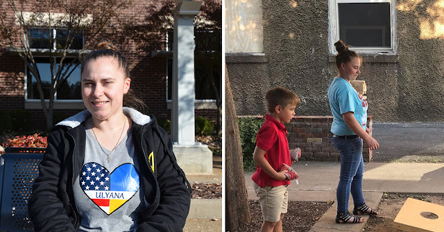 photo on left: woman; photo on right: woman playing a game with a child