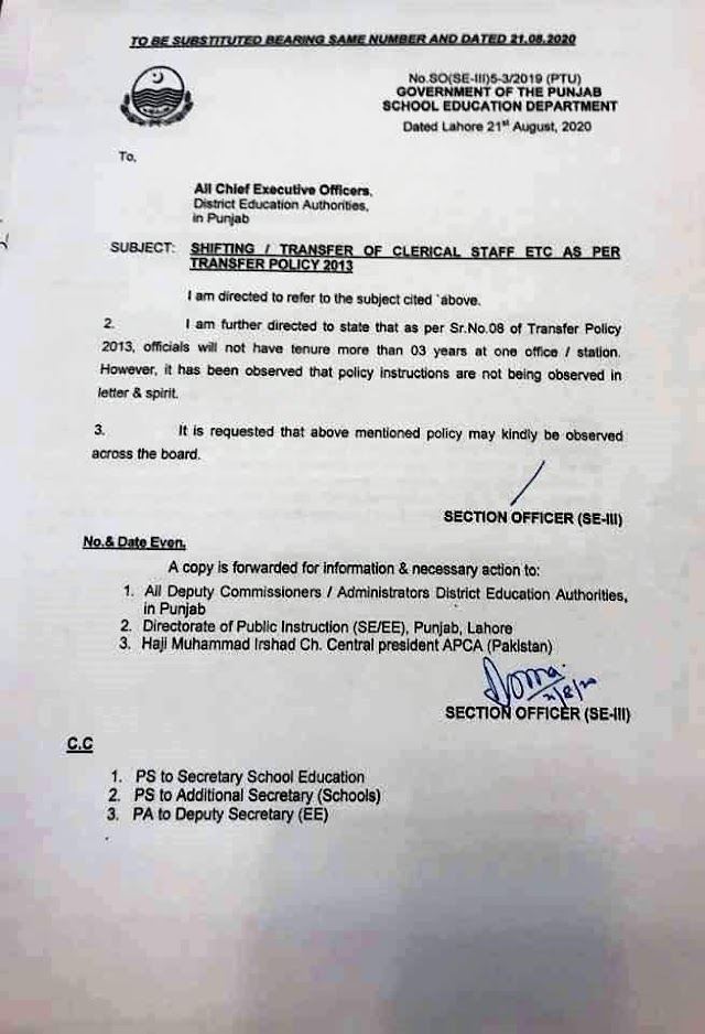 SHIFTING / TRANSFER OF CLERICAL STAFF EDUCATION DEPARTMENT