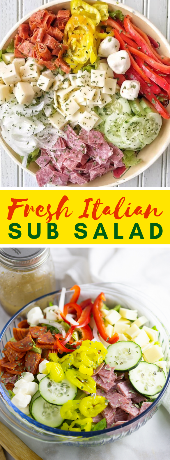 Italian Sub Salad Recipe #vegetarian #summer