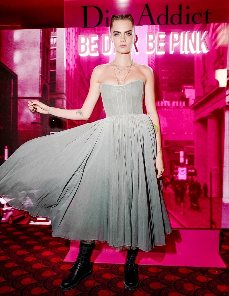 Cara Delevingne at Dior Addict Stellar Shine launch