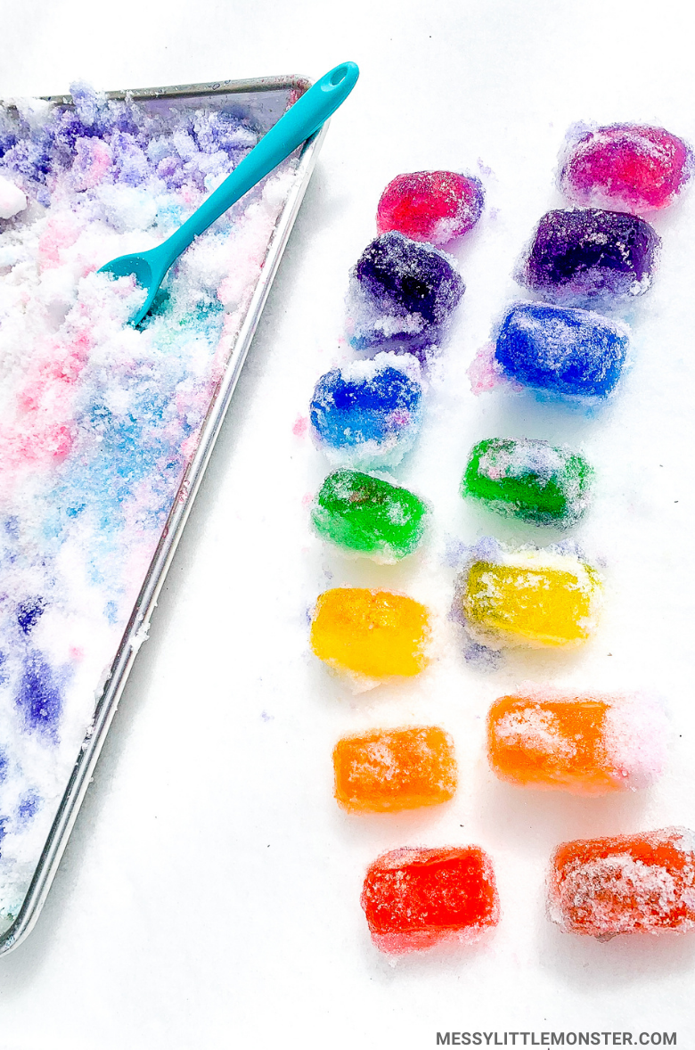Rainbow ice and snow activity for kids