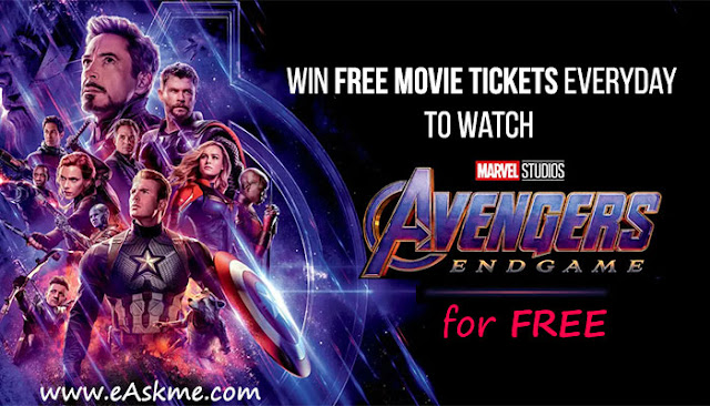 eAskme Giveaway ~ Win Avengers End Game Free Movie Tickets Everyday: eAskme