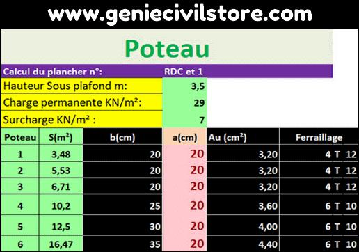 Dimensionnement des Poteaux, Poutres et Semelles (Excel)