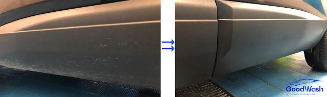 antes y después limpieza plásticos vehículo