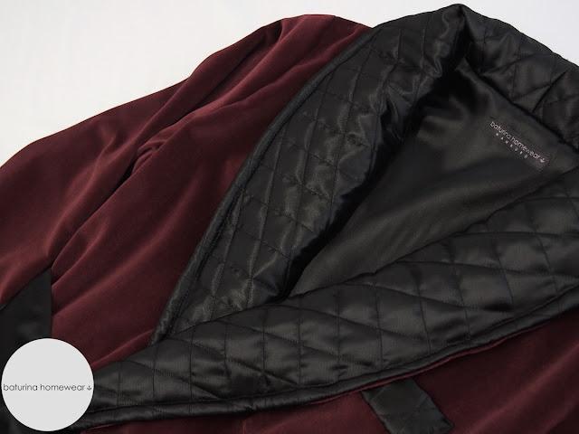 silk lined long dressing gown velvet robe gentleman classic housecoat burgundy black traditional tailored loungewear