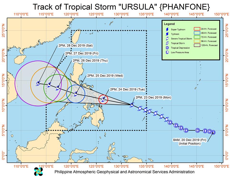 Track of Tropical Storm Ursula | via DOST-PAGASA