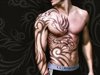 Stylish Tribal Tattoo on Side Body