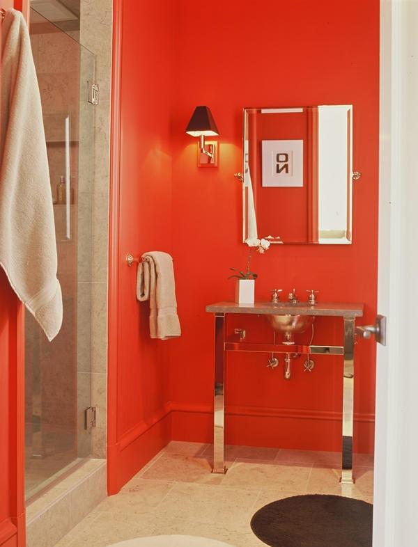 Desain Kamar Mandi Unik Bernuansa Warna Merah