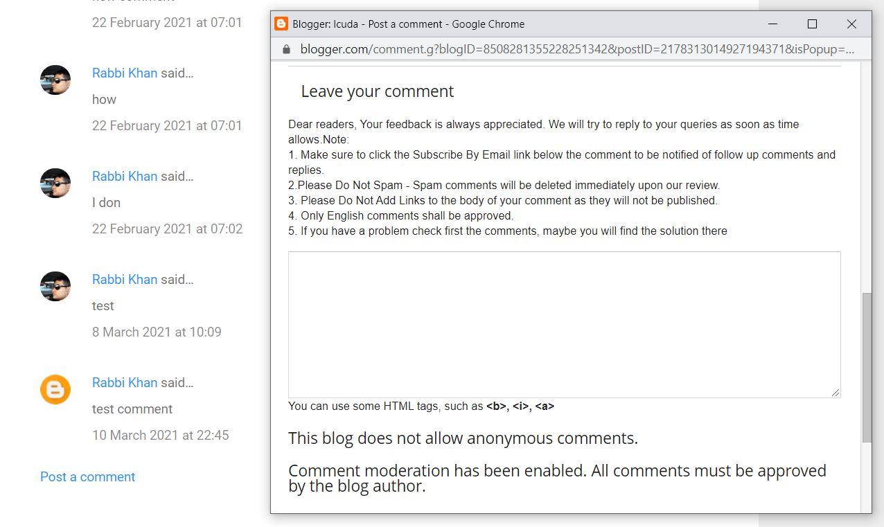 blogger popup comment box