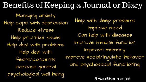Benefits of keeping a journal or diary