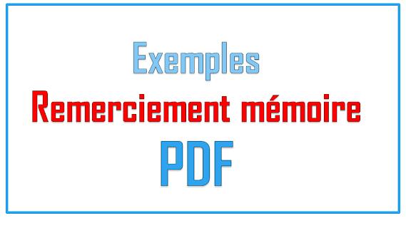 Exemples de remerciement mémoire