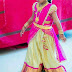 Off White Brocade Half Saree