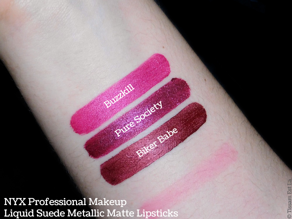 NYX Professional Makeup | Liquid Suede Metallic Matte Lipsticks Swatches & Review - Avis et Swatch - Pure Society - Biker Babe - Buzzkill