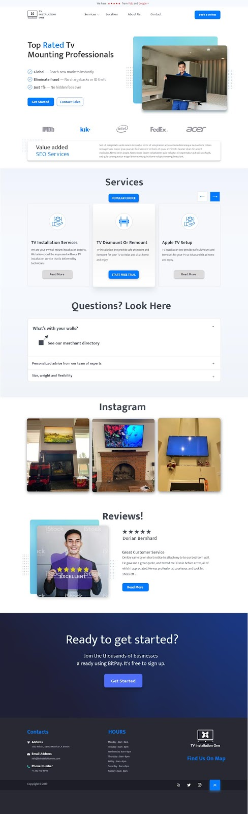 TV Mounting Service Website UI Design