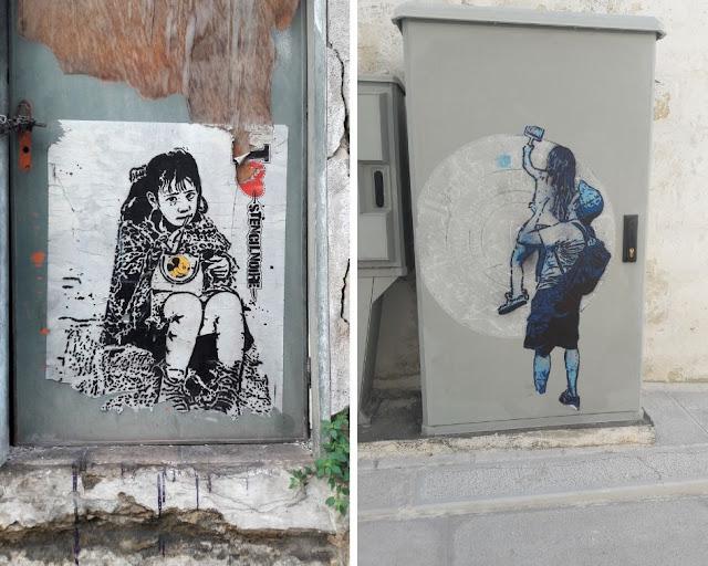 Alcune opere di Noire nel centro storico di Massafra