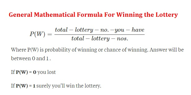 Mathematical Formula For Winning the Lottery
