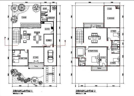 Gambar Denah Rumah Minimalis Berlantai 2