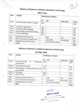 Diploma in laboratory technician(DMLT) Course RPMC JAIPUR 2020-2021