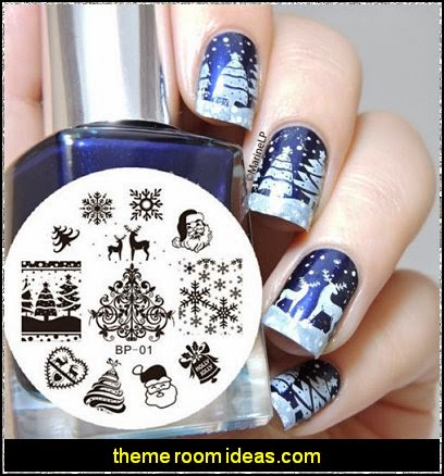 Christmas Theme Nail Art Stamp Stamping Template Image Plate Nail Tool