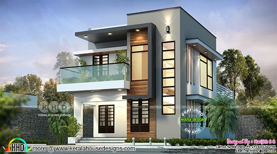 Small double storied 1624 sq-ft home contemporary style