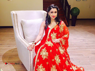 Actress Mannara Chopra Pictures in Red Dress at Dubai 0006