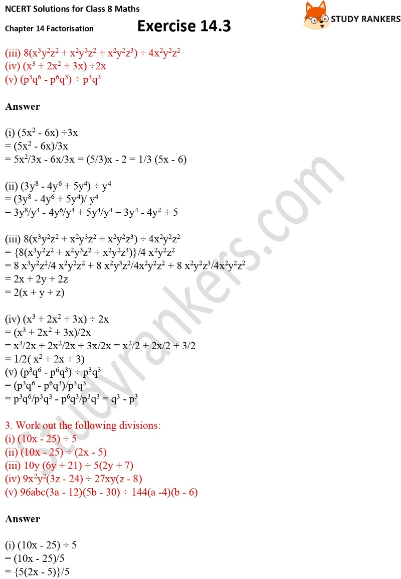NCERT Solutions for Class 8 Maths Ch 14 Factorization Exercise 14.3 2