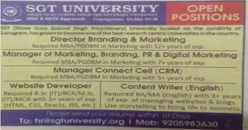 SGT University Recruitment 2021