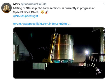 SpaceX followers peer through the fence to see fabrication of Starship in Boca Chica (Source: @BocaChicaGal)