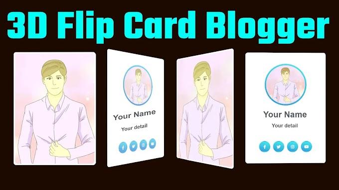 3d flip card effect html css blogger | 3d flip card blogger Free script