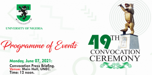 UNN 49th Convocation Ceremony Programme of Events 2021