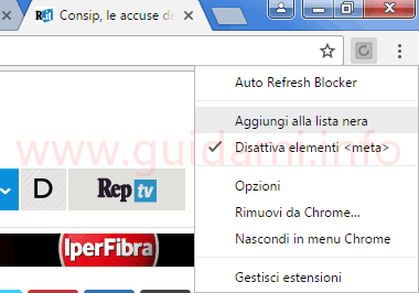 Chrome menu pulsante estensione Auto Refresh Blocker