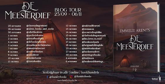 Banner voor de blogtour van De meesterdief geschreven door Emmelie Arents