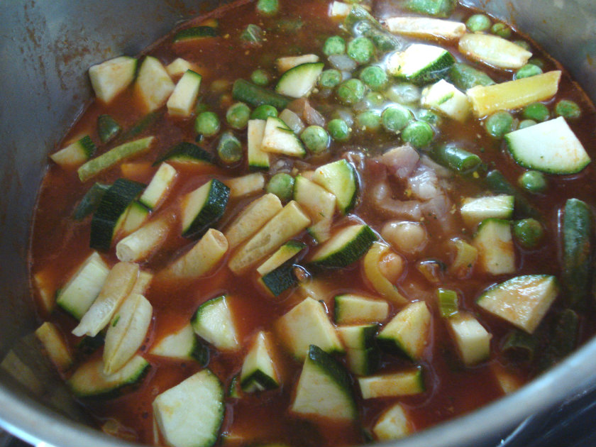 Add the courgette, peas and beans