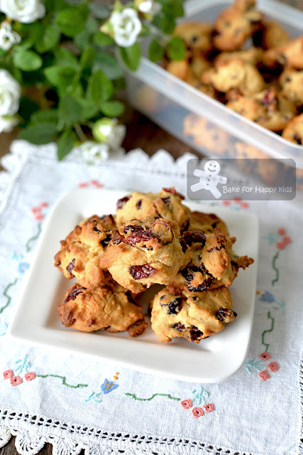 mini bite size less sugar honey cranberry cookies