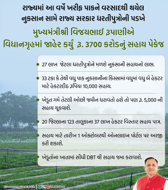 Gujarat Announces 3700 Crore Relief Package For Kharif Crop Loss