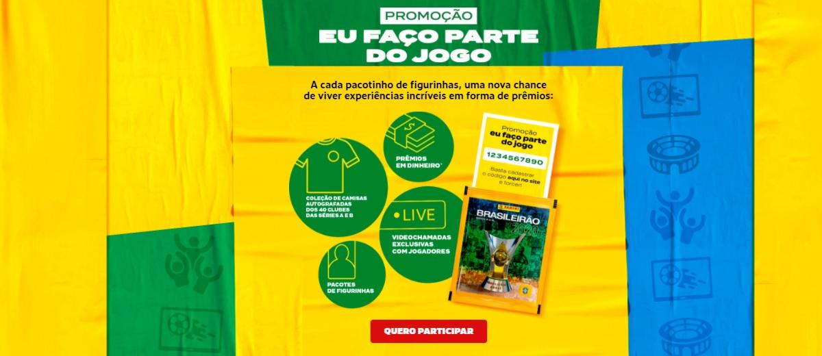 Promoção Eu Faço Parte do Jogo Panini 2020 Cadastrar Código Figurinhas Brasileirão