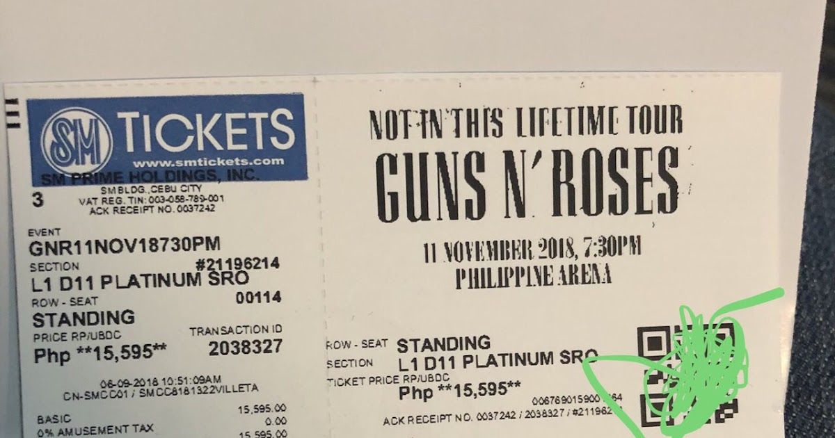 Pinas For Good Guns N Roses Ticket