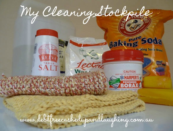My Cleaning Stockpile - click through to Debt Free Cashed Up and Laughing to see 11 common household products that keep our home sparkling and clean year round
