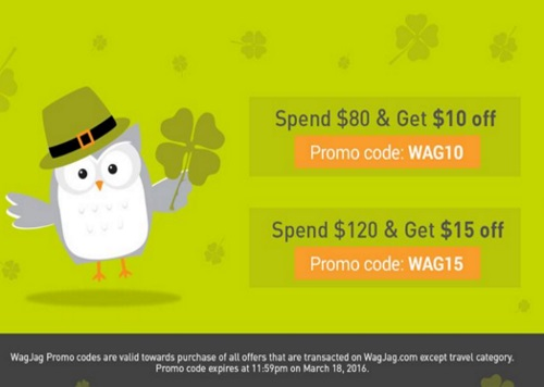 Wagjag St.Patrick's Day Spend Up To $15 Off Promo Codes
