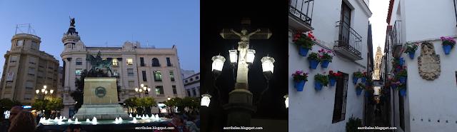 viaje a Córdoba: estatua del Gran Capitán en la plaza de Tendillas, Cristo de los Faroles, Calleja de las Flores
