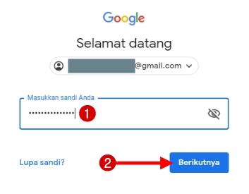 Masukkan password email gmail kemudian klik berikutnya