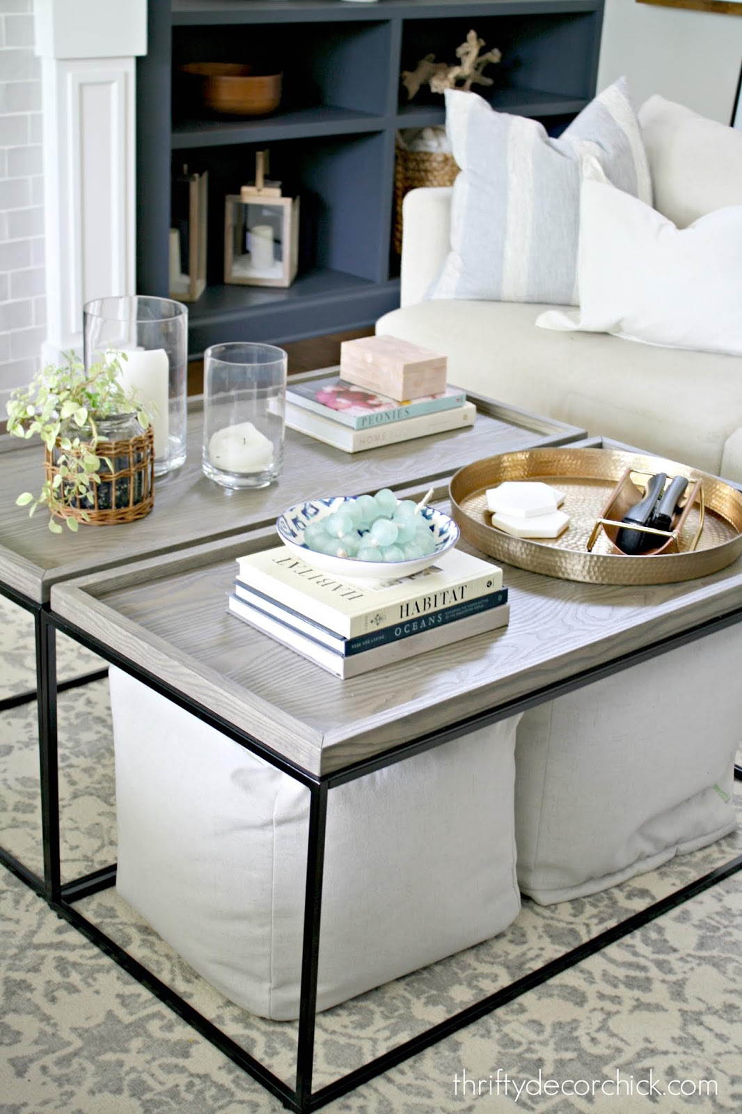 Using two coffee tables to create large table