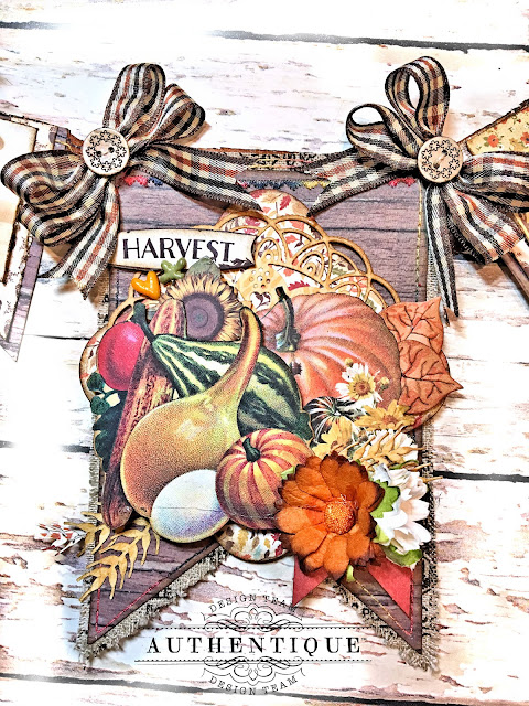 Authentique Pleasant Thanksgiving Banner Tutorial by Kathy Clement Photo 08