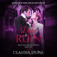 Duke of Ruin Audiobook cover. A handsome man tilts a woman's chin in preparation for a kiss.