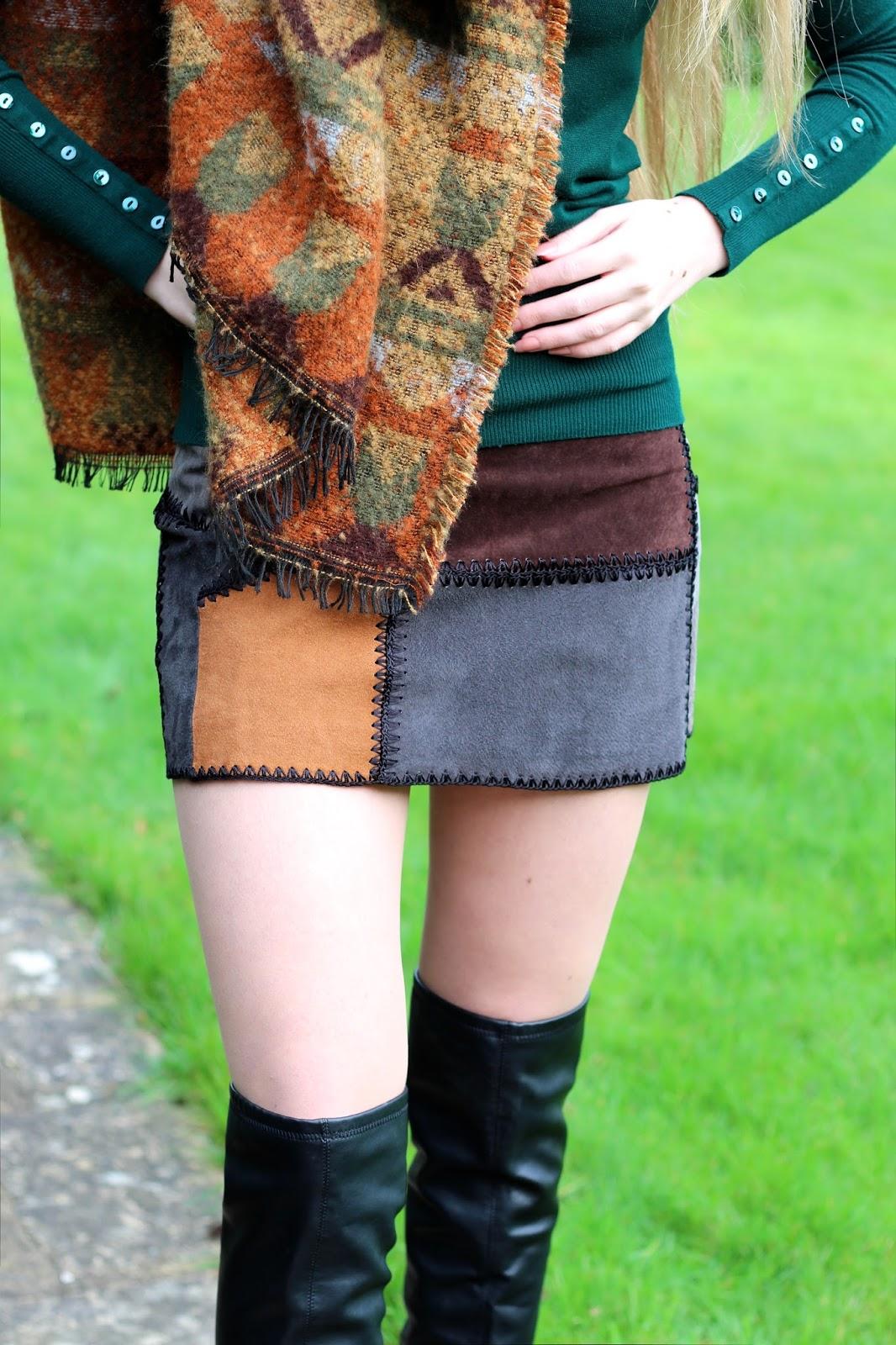 zara patchwork suede skirt