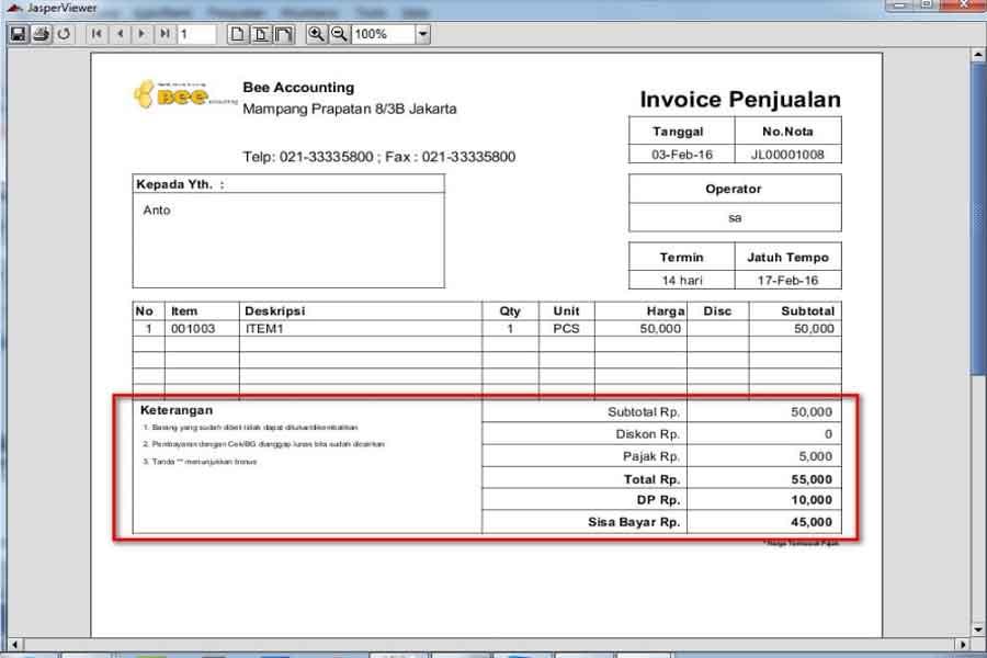 Contoh Invoice Jasa Lengkap Dengan Dp ( Down Payment )
