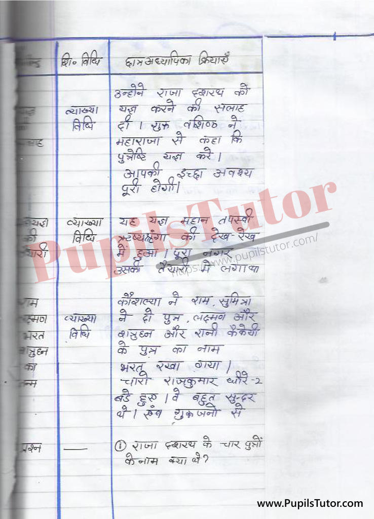 Lesson Plan on Ram In Hind for B. Ed and DELED
