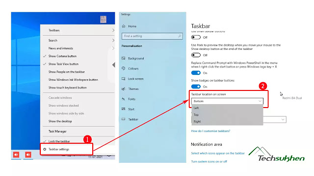 How to move taskbar windows 10 from its default position
