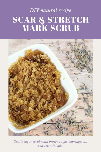 How to make a DIY scar treatment sugar scrub. This DIY easy scrub uses moringa oil, helichrysum, and lavender essetnial oils.  It has brown sugar, so it's gentle enough to use on your face and for acne scarring.  Make a natural homemade scar treatment to fade scars at home with a homemade sugar scrub. #sugarscrub #scar #naturalbeauty